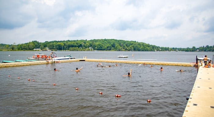 Wide view of Camp Awosting swimming area